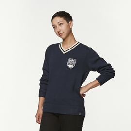 Sweater - UBC Crested V-Neck Navy Blue