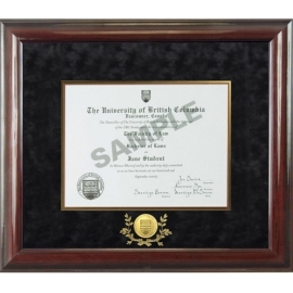 Diploma frame - UBC wood degree frame w/ black velvet matting