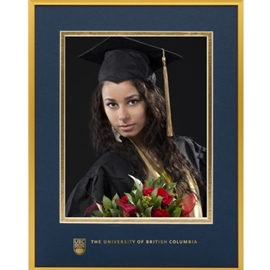 Photo frame - UBC metal graduation photo frame 8X10 w/ 5X7 photo opening and silver UBC foil coat of arms