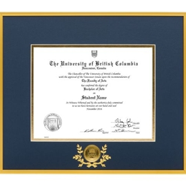 Diploma Frame - UBC Metal frame with UBC medallion