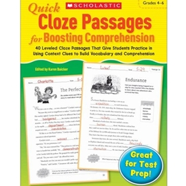 Quick Cloze Passages for Boosting Comprehension Grades 4-6