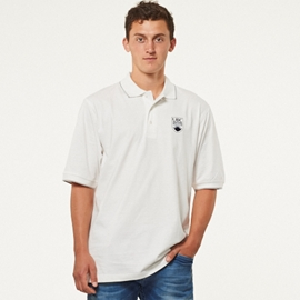 "Polo Shirt - UBC Crested Cotton Jersey White <font color = ""red"">On Sale</font>"