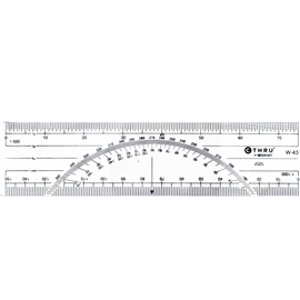 ACME C-THRU METRIC PROTRACTOR RULER WITH 1:500 AND 1:1000 SCALE 15CM/6