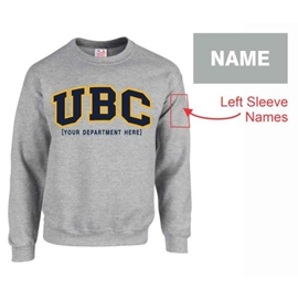 "Crewneck - Customizable Faculty UBC Twill Crew <font color = ""red"">w/ Sleeve Personalization</font> - Grey"
