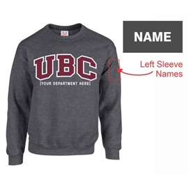 "Crewneck - Customizable Faculty UBC Twill Crew <font color = ""red"">w/ Sleeve Personalization</font> - Charcoal"