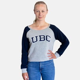 Sweatshirt - Crewneck - Women's Camila Cropped Colour Block Navy Blue