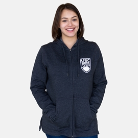 Sweatshirt - Hoodie - Women's Cozy Lounge Full Zip Charcoal