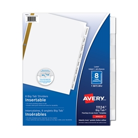 Filing - Avery 8 Tab Laser Worksaver Clear Divider Tabs