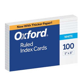 Filing - Oxford 5x8 Ruled Index Card White