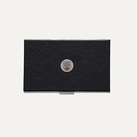 Card Holder - Black Leatherette UBC Business Card Case Silver Medallion