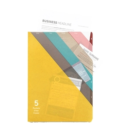 Filing - Sasaki 5 Pocket Clear Folder A4 Assorted Colours