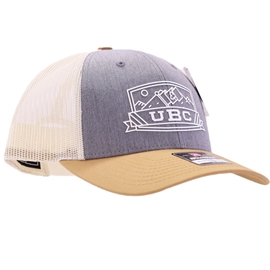 Hat - Trucker - UBC Low Pro Grey Panel Gold Brim Birch Mesh