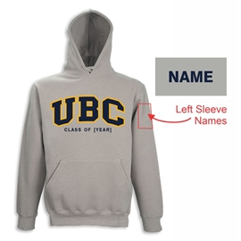 "Hoodie - Customizable ""Class Of"" UBC Twill Hood <font color = ""red"">w/ Sleeve Personalization</font> - Grey"