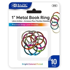 "Binder rings - Bazic 1"" Book Rings Coloured Metal 10/Pk"