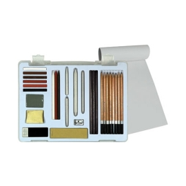 Art Supplies - Pentalic Graphite, Charcoal & Soft Pastel Drawing Set in Clear Carry Case 30 Piece Set