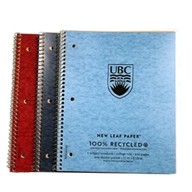 Notebook - Imprinted UBC 1 Subject Notebook Recycled